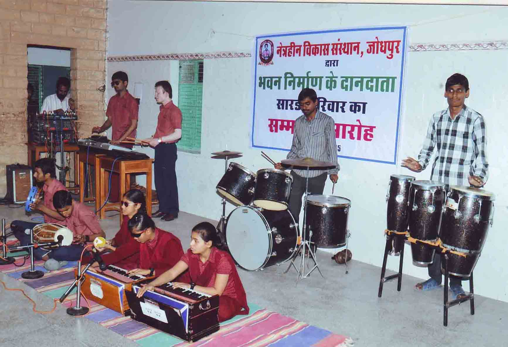 Blind students of our school performing on Stage on the occation of donating the building to Netraheen Vikas Sansthan