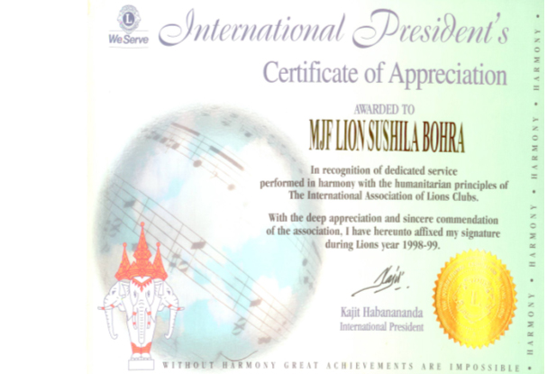International Certificate Of Appriciation